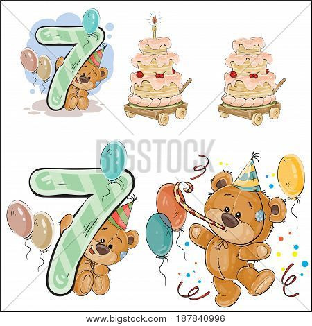 Set of vector illustrations with brown teddy bear, birthday cake and number 7. Prints, templates, design elements for greeting cards, invitation cards, postcards