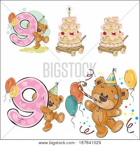Set of vector illustrations with brown teddy bear, birthday cake and number 9. Prints, templates, design elements for greeting cards, invitation cards, postcards