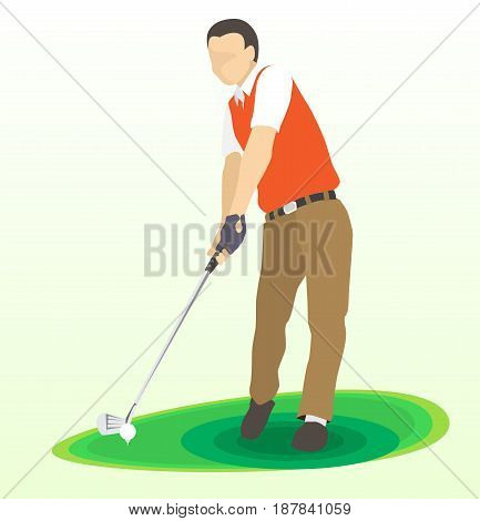 Illustration of Golf swing front view on green field, Golfer in red shirt and dark trousers. Vector flat design style.