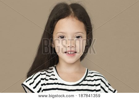 Little Girl Smile Face Expression Studio Portrait