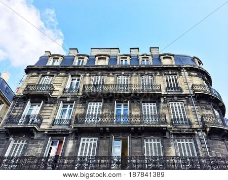 Old residential building in the city of Bordeaux France.