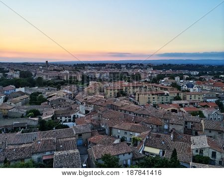 View over the picturesque town of Carcassonne in sunset. France.