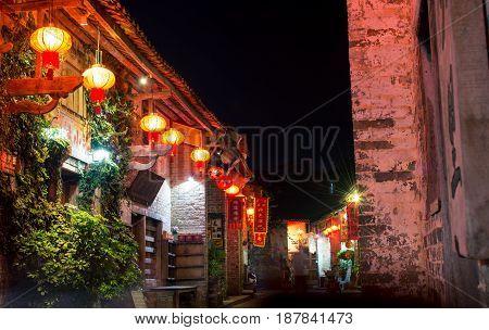 He Zhou, China - May 2, 2017: Huang Yao Ancient Town Street In Zhaoping County, Guangxi Province. Ni