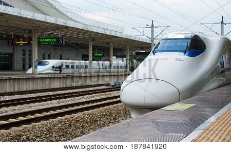 Guangzhou, China - May 3, 2017: Chinese Highway High Speed Train At The Train Station