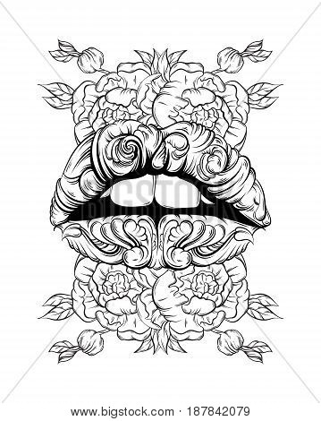 Vector illustration of surreal lips made in hand drawn style. Tattoo art with flowers. Creative fairy artwork with elements of baroque. Template for card poster banner print for t-shirt.
