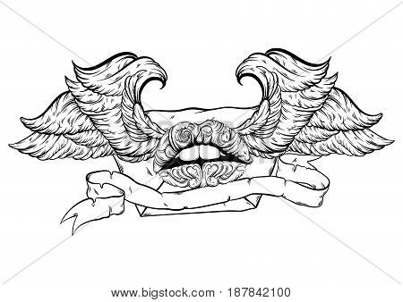 Vector hand drawn illustration of flying envelope with wings and ribbon. Creative artwork with baroque surrel lips. Tattoo art. Template for card poster banner print for t-shirt.
