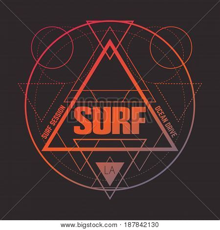 Quote typographical background about surfing. Template for card poster postcard banner print for t-shirt.