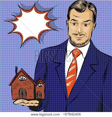 Vector illustration of realtor businessman offering real property for sellers, buyers. House rental. Real estate agent services concept in retro pop art comic style.