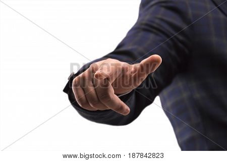 Man in a suit presses the finger on the display