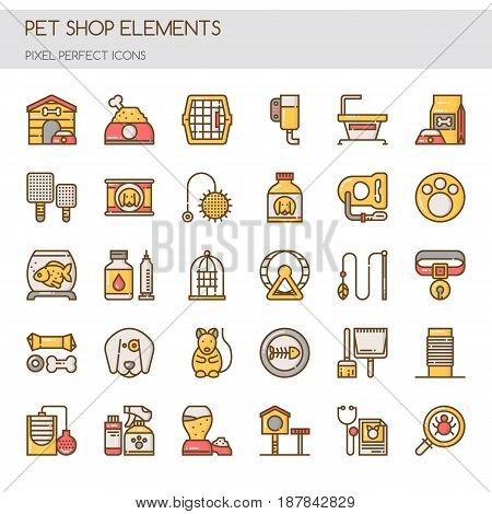 Pet Shop Elements , Thin Line and Pixel Perfect Icons