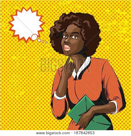 Vector illustration of pretty woman with curly afro hairstyle, speech bubble. African american woman with bag in retro pop art comic style.