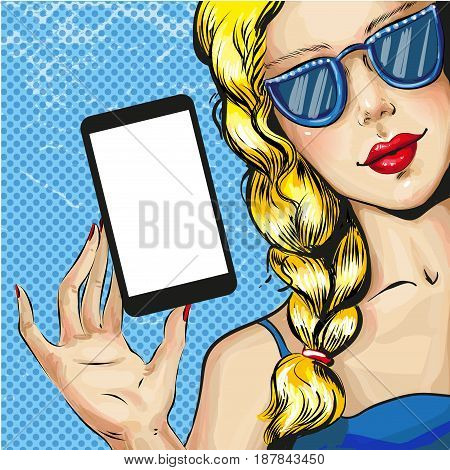 Vector illustration of beautiful blond woman showing smartphone. Pretty girl advertising cell phone in retro pop art comic style.