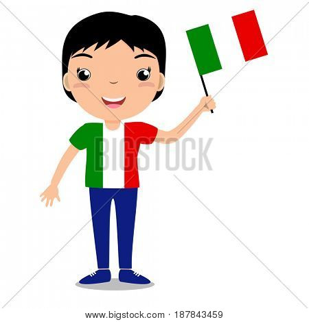 Smiling child, boy, holding a Italy flag isolated on white background. Cartoon mascot. Holiday illustration to the Day of the country, Independence Day, Flag Day.