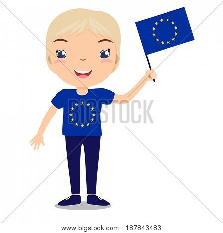 Smiling child, boy, holding a European Union flag isolated on white background. Cartoon mascot. Holiday illustration to the Day of the country, Independence Day, Flag Day.