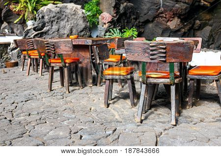 Tables And Chairs In Volcanic Cave In Jameos Del Agua, Lanzarote, Canary Islands, Spain