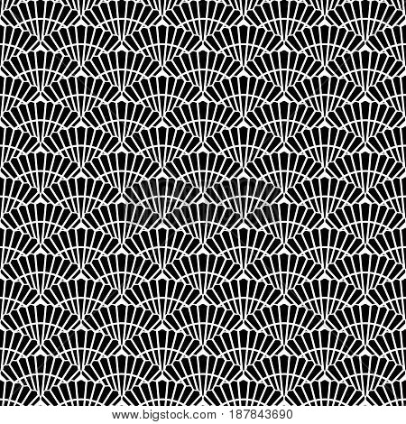 Asian Black and white seamless pattern with scallop. Abstract background for textile paper wrapper print for fabric. Vector illustration