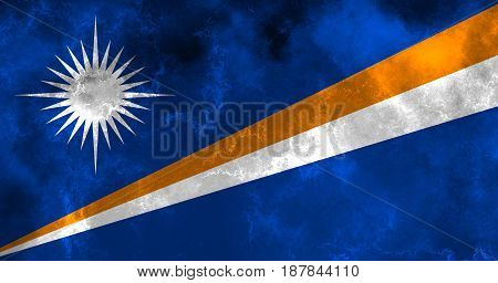 Marshall Islands flag grunge background. Background for design in country flag