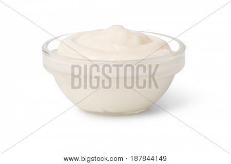 Bowl with mayonnaise isolated on white background