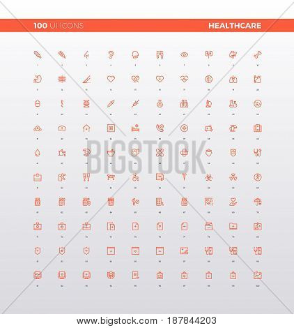 UI icons of healthcare mobile pictogram elements for smartphone app medical center and first aid support web icons. 32px simple line icons set. Premium quality symbols and sign web logo collection.