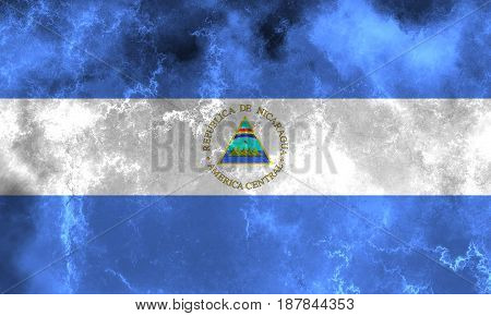 Nicaragua flag grunge background. Background for design in country flag