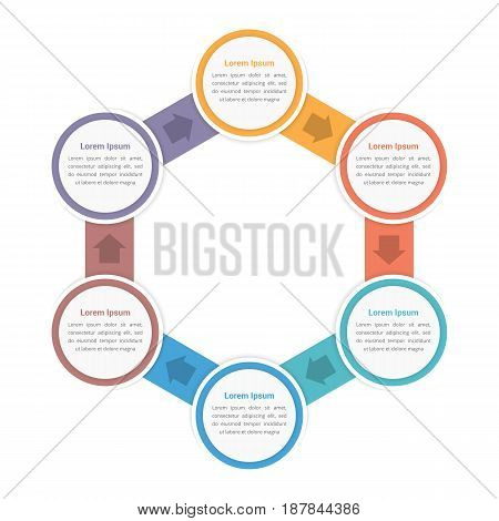 Circle diagram infographic template with six steps or options, vector eps10 illustration