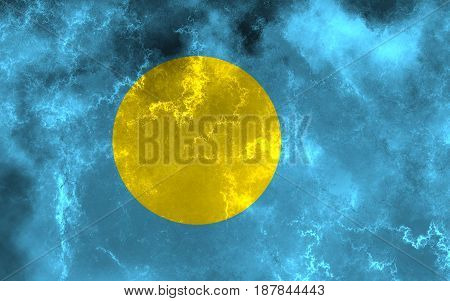 Palau flag grunge background. Background for design in country flag