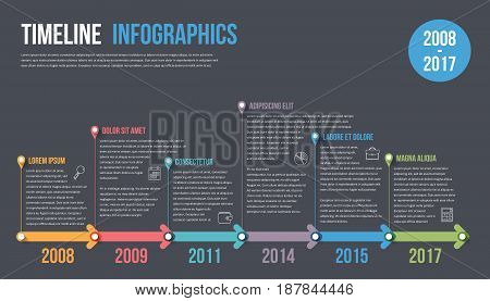 Timeline infographics template with colorful arrows, vector eps10 illustration
