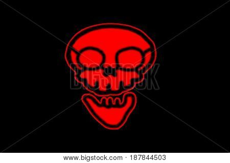 red Skull. flat symbol pictogram on black background. red simple icon