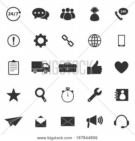 Customer service icons on white background, stock vector