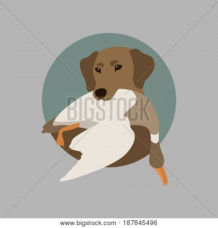 hunting dog with duck vector illustration style Flat