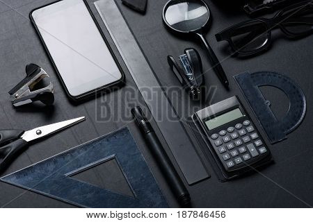 Smartphone With Various Office Utensils Mock-up Isolated On Black
