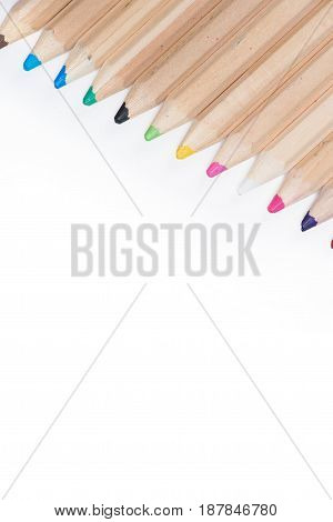 Close-up View Of Set Of Wooden Color Pencils Isolated On White