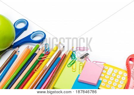 Close-up View Of Colorful School And Office Supplies Isolated On White