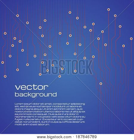 Abstract technological blue background with elements of the microchip. Circuit board background texture. Vector illustration.