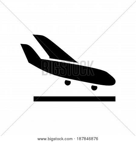 Arrival Landing Plane Icon Simple Flat Vector Illustration