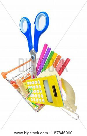 Different Colorful School Supplies In Shopping Cart Isolated On White