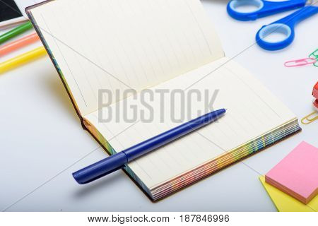 Empty Copybook And Different School Supplies Isolated On White