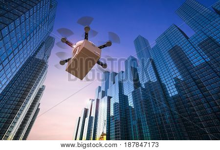 3d rendering delivery drone flying in urban city