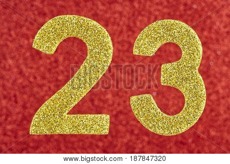 Number twenty-three yellow over a red background. Anniversary. Horizontal