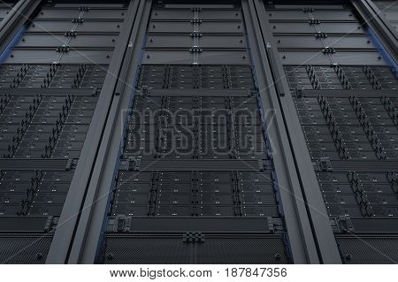 3d rendering server computer cluster or server racks