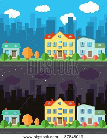 Vector city with one and two-story cartoon houses in the day and night. Summer urban landscape. Street view with cityscape on a background