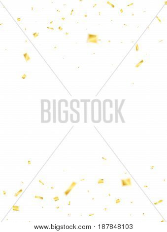 Golden confetti. Holiday confetti isolated on white background. Flying confetti