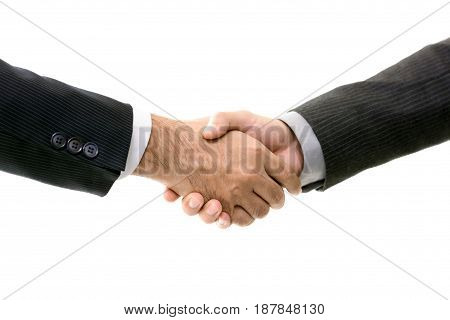 Businessmen making handshake isolated on white background