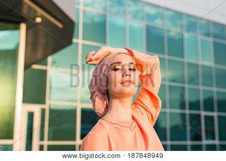 Portrait of young beautiful Asian muslim woman wearing hijab