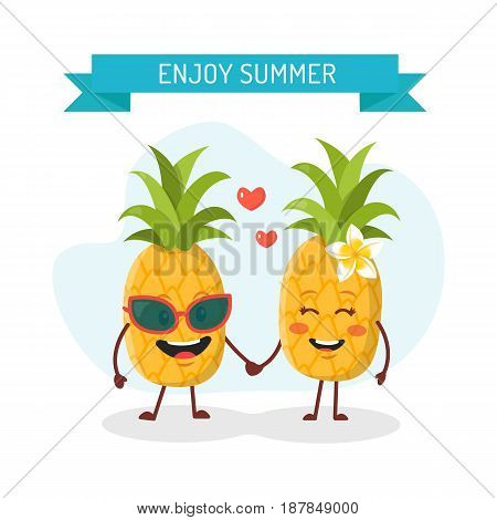 A couple of pineapples in love. Enjoy summer. Vector pineapples cartoon character illustration.