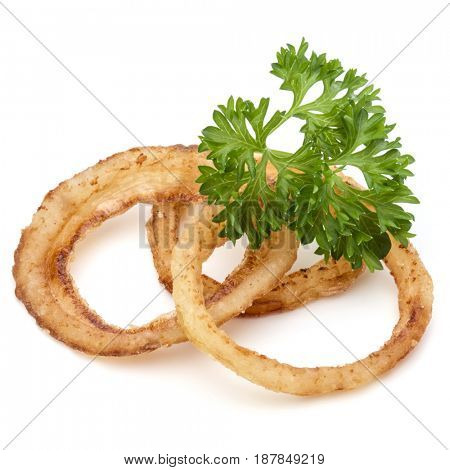 Delicious crispy fried onion rings isolated on white