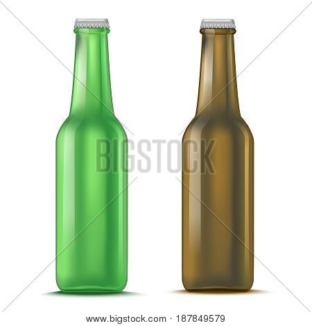 Realistic Detailed Green and Brown Glass Beer Bottle Liquid Alcohol Drink Isolated on White Background. Vector illustration