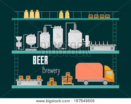 Cartoon Beer Brewing Process Production Drink Flat Style Design Equipment Conveyor Factory. Vector illustration