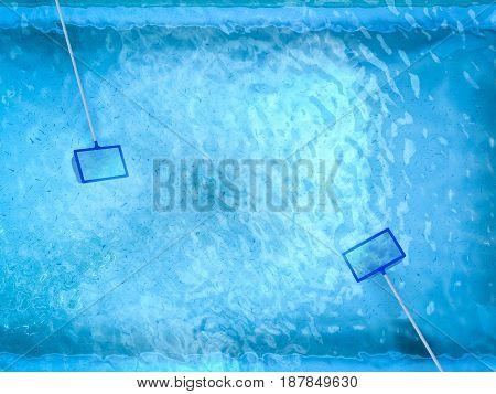 Landing Net Or Fishing Net With Pool