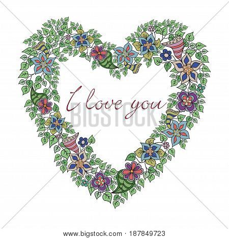 Design vector Illustration background for Valentines day. Greeting card with hand-drawn floral Heart.